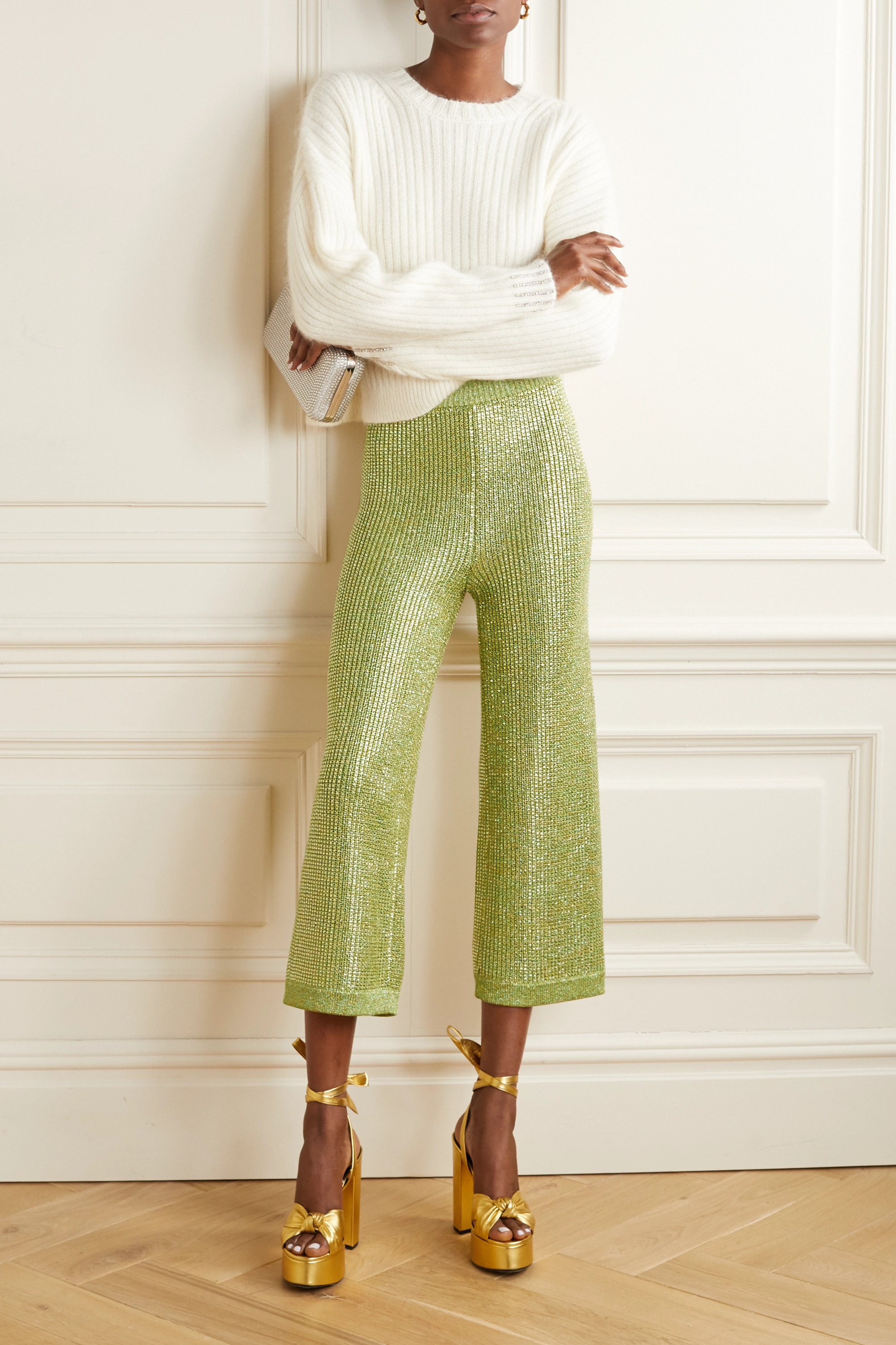 Gucci Cropped crystal-embellished metallic knitted wide-leg pants