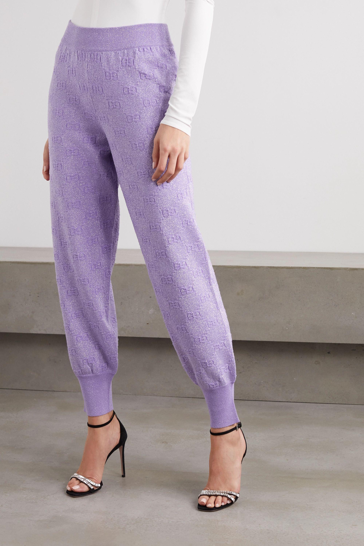 Gucci Metallic wool-blend jacquard track pants