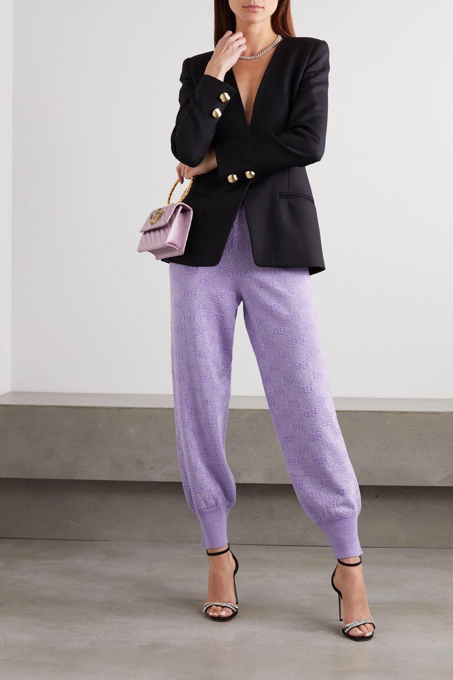 Gucci Jogginghose aus Metallic-Jacquard aus einer Wollmischung