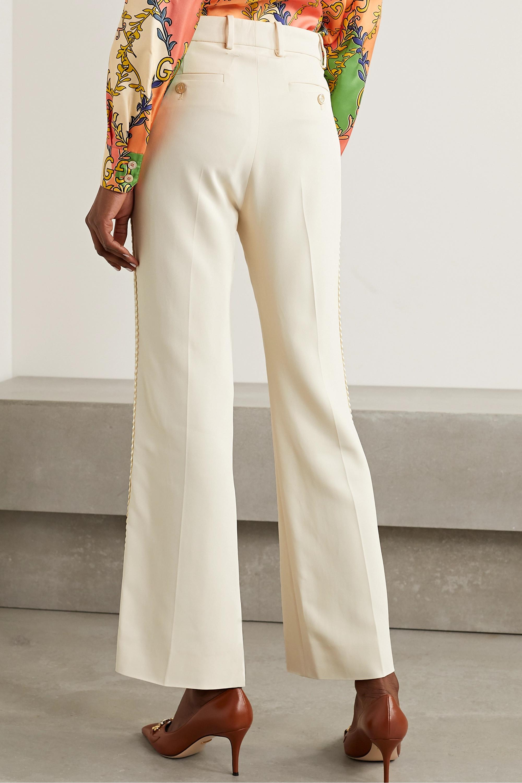 Gucci Appliquéd crepe wide-leg pants