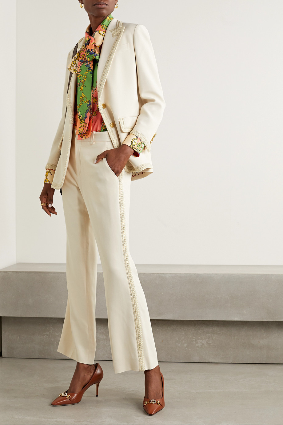 Gucci Appliquéd crepe wide-leg pants