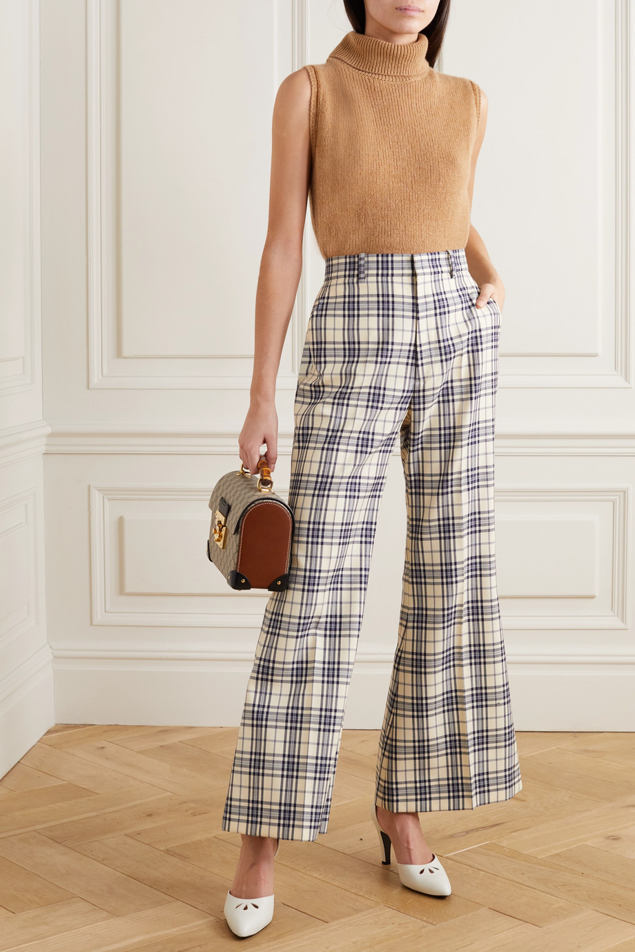 Gucci Prince of Wales checked wool flared pants