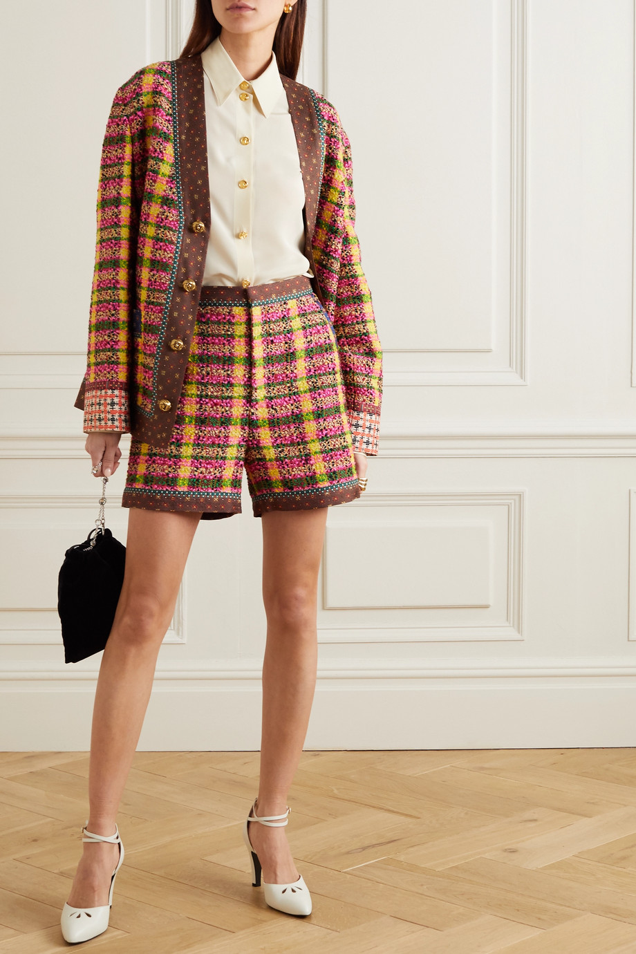 Gucci Silk-trimmed checked wool-blend tweed shorts