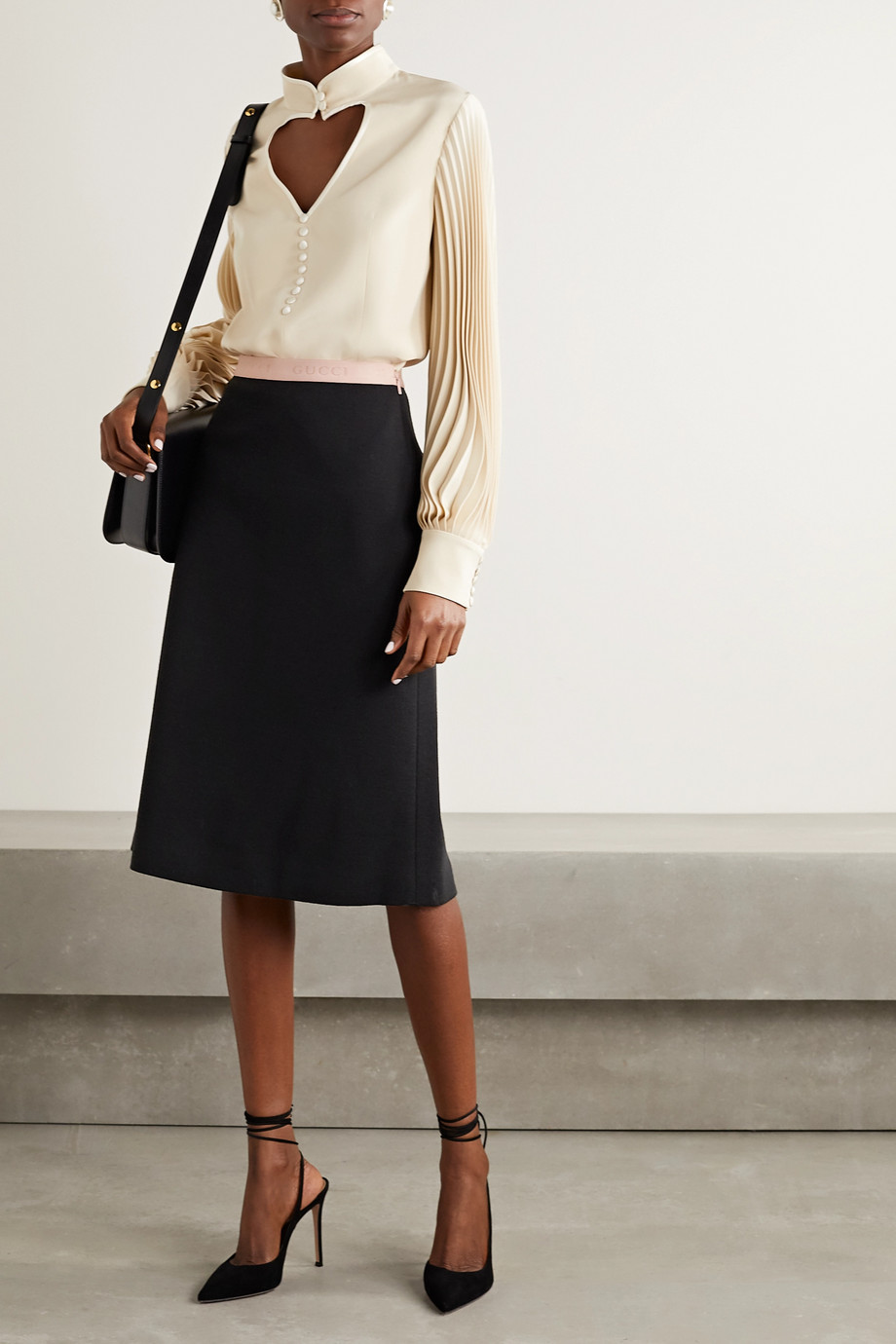 Gucci Jacquard-trimmed wool-blend skirt