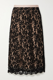 Gucci Jacquard-trimmed corded lace midi skirt