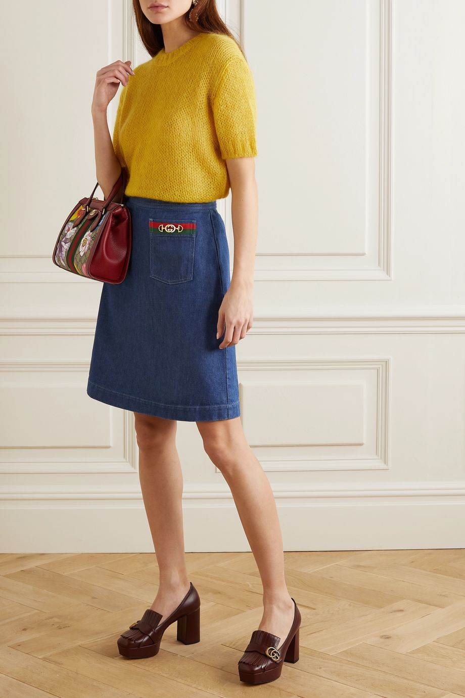Gucci Embellished denim midi skirt