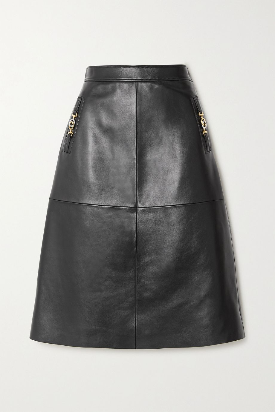 Gucci Embellished paneled leather midi skirt