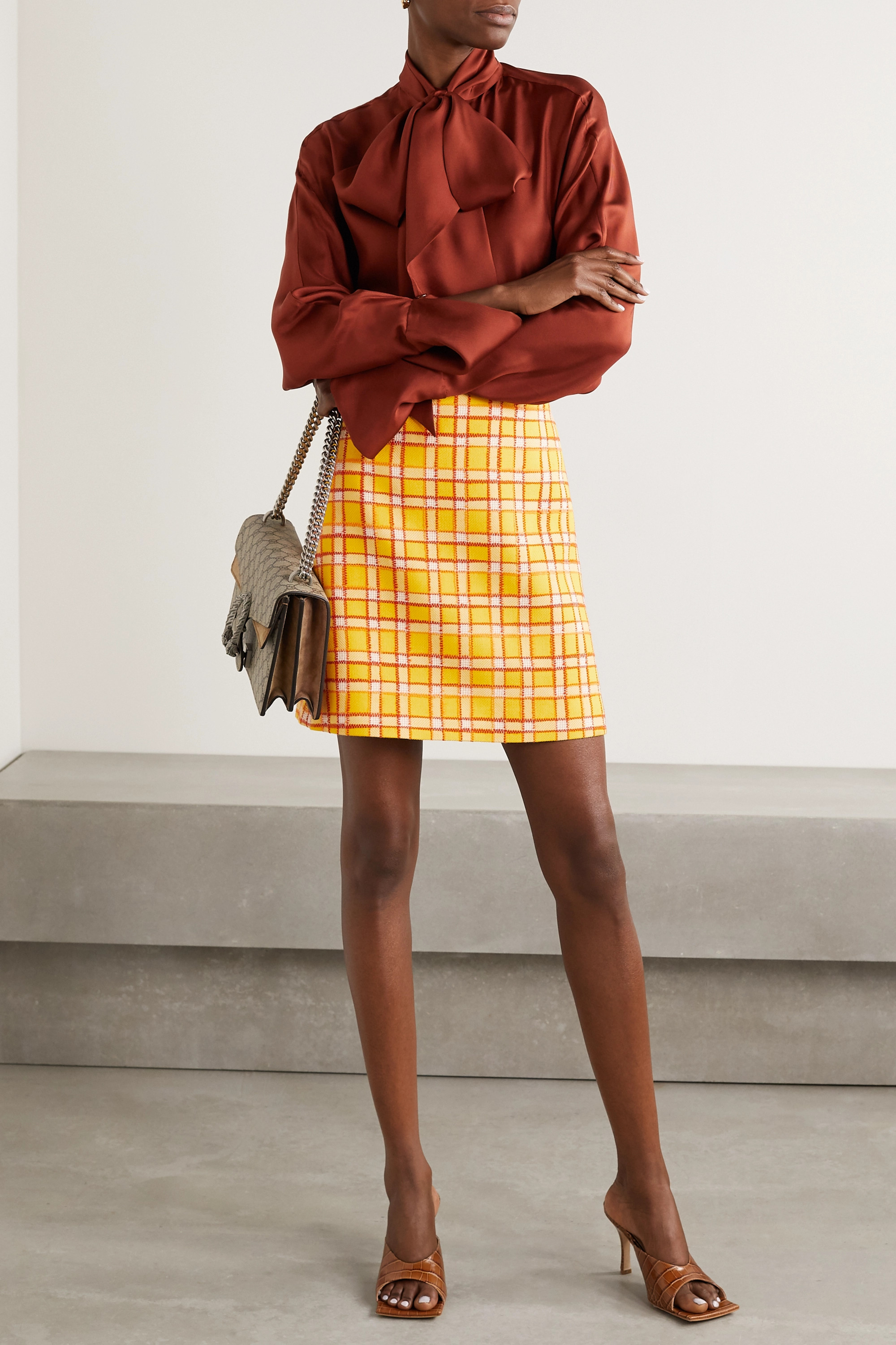 Gucci Checked wool-tweed mini skirt