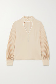 Gucci Cutout pleated silk-satin blouse