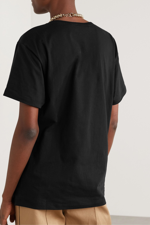 Gucci 大廓形亮片缀饰印花纯棉平纹布 T 恤