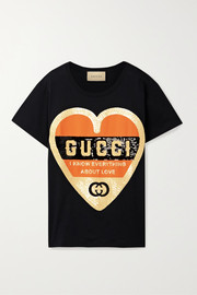 Gucci Oversized sequin-embellished printed cotton-jersey T-shirt