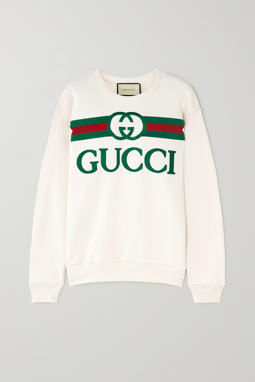 Gucci 大廓形刺绣纯棉平纹布卫衣