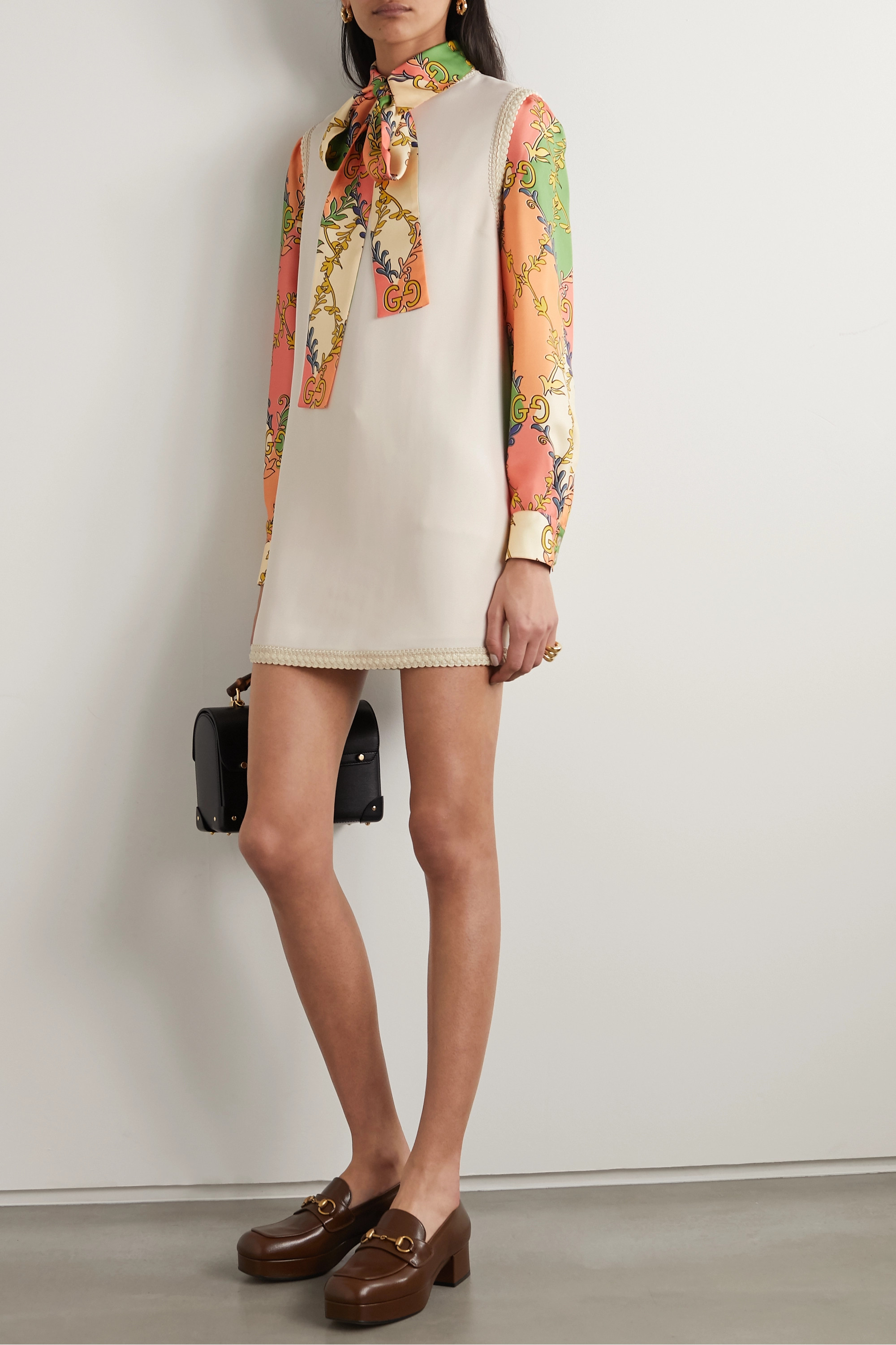 Gucci Grosgrain-trimmed cady tunic