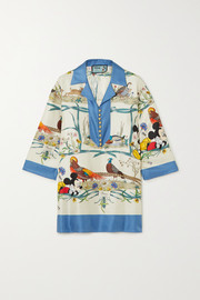 Gucci + Disney printed silk-twill blouse