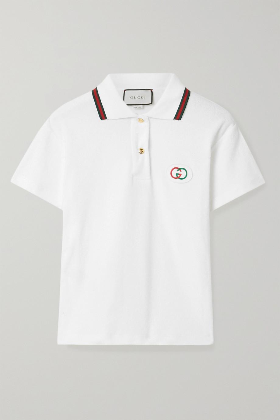 Gucci Appliquéd cotton-terry polo shirt