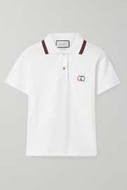 Gucci Appliquéd cotton-terry polo shirt