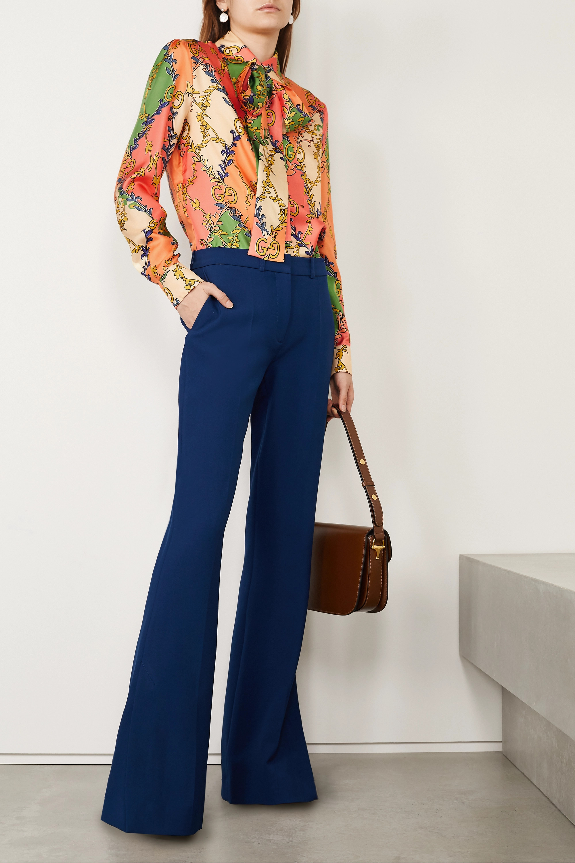 Gucci Pussy-bow printed silk-twill blouse