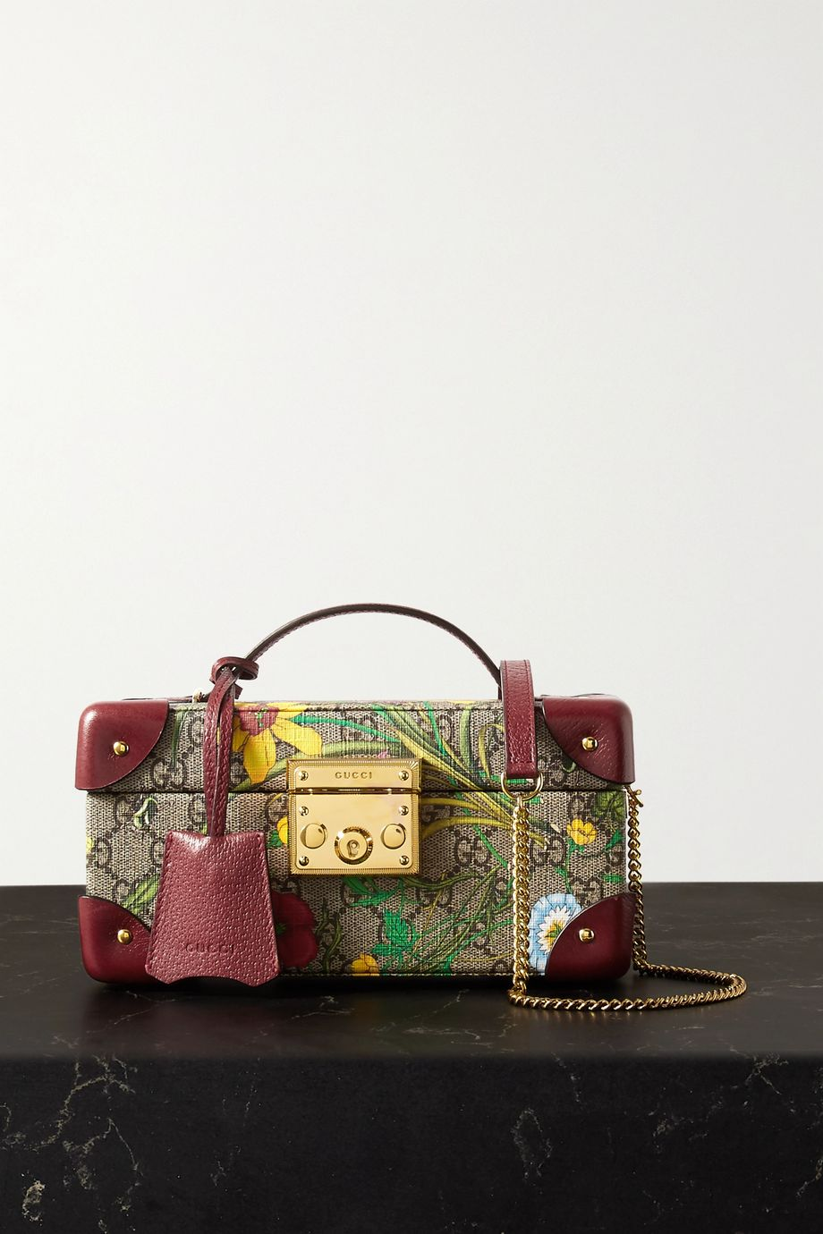 Gucci Textured leather-trimmed printed coated-canvas jewelry box