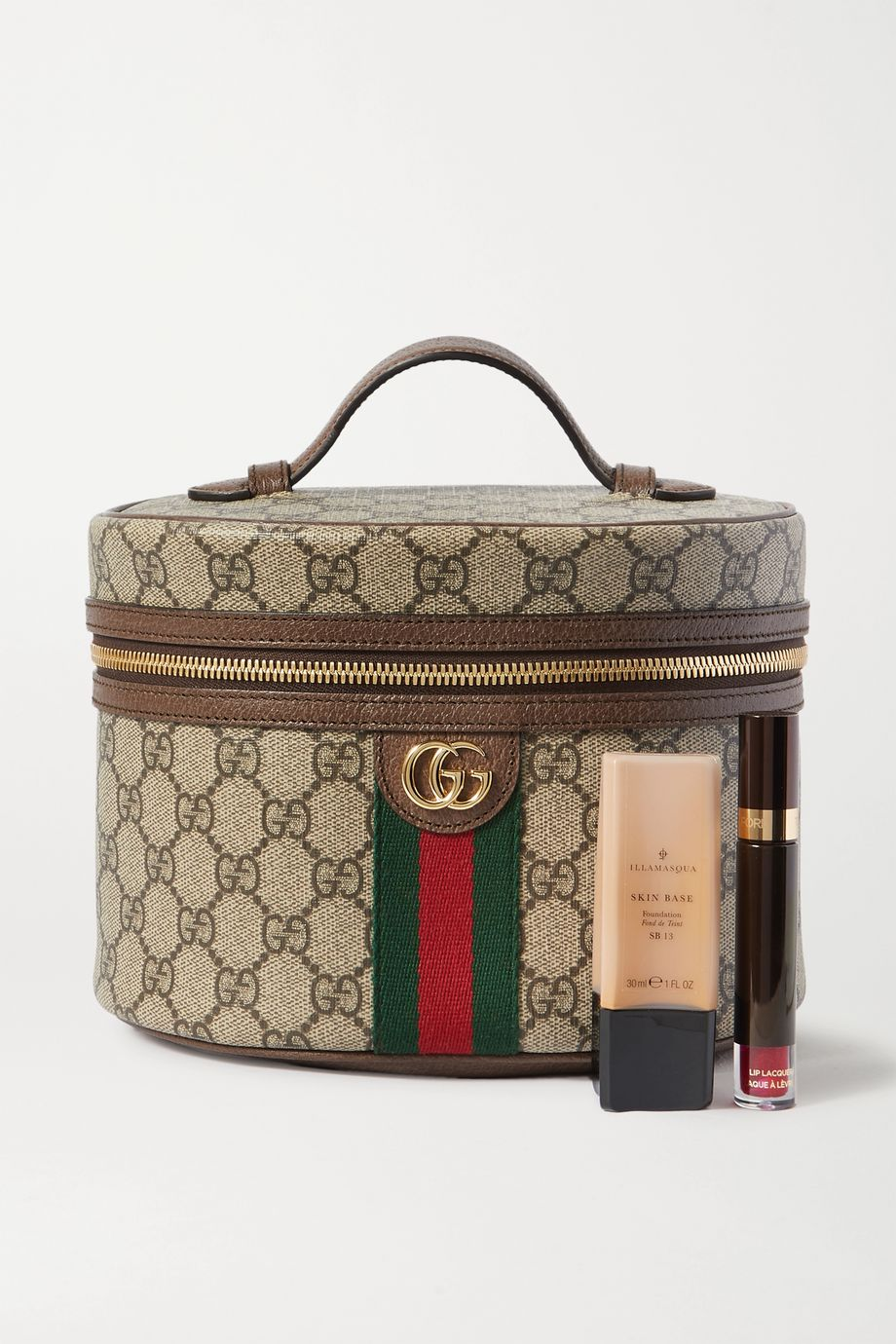 Gucci Supreme textured leather-trimmed printed coated-canvas cosmetics case