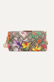 Ophidia textured leather-trimmed printed coated canvas cosmetics case