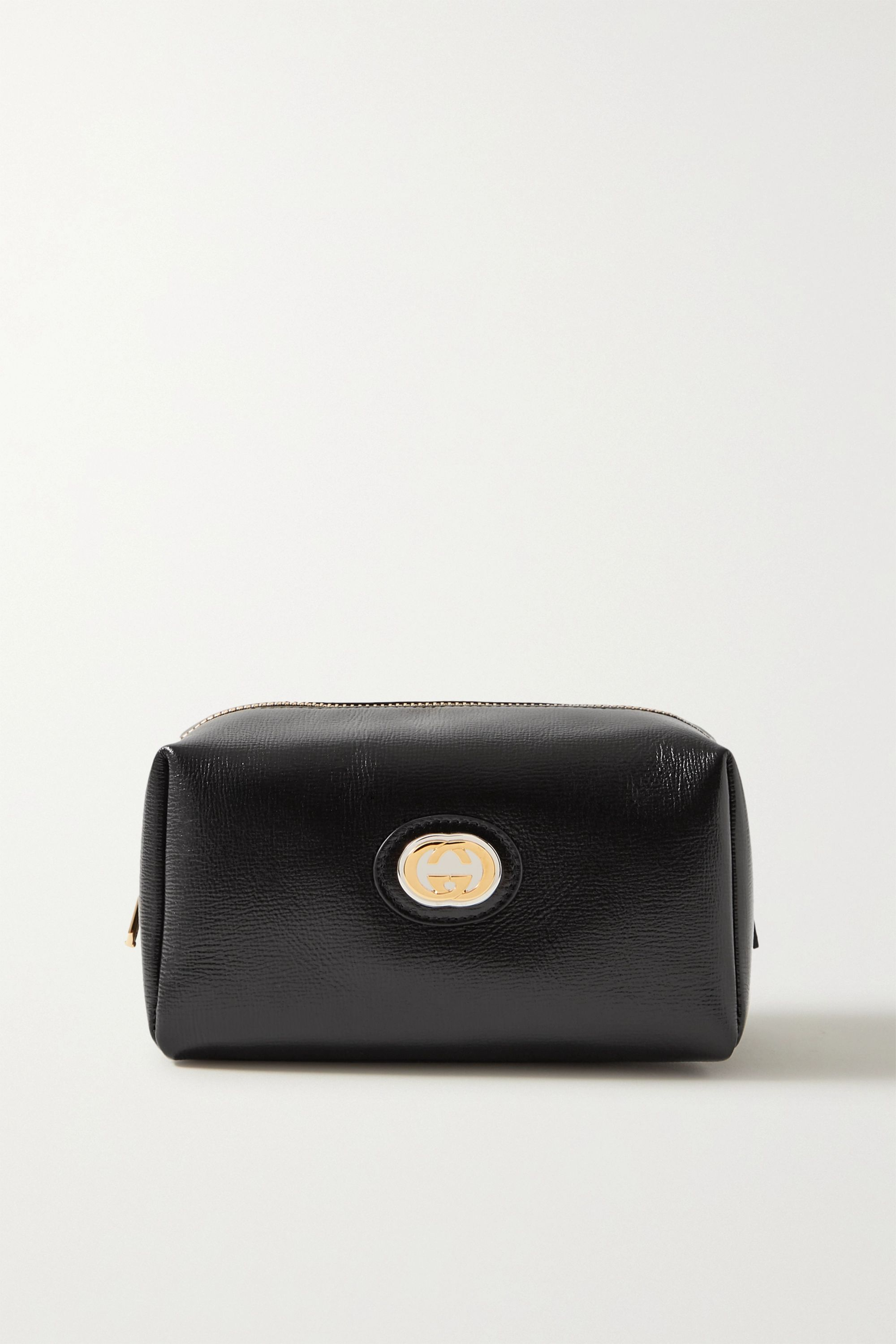 Gucci Embellished glossed textured-leather cosmetics case