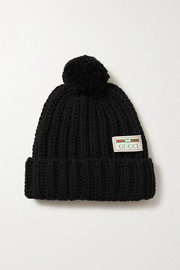 Pompom-embellished ribbed wool beanie