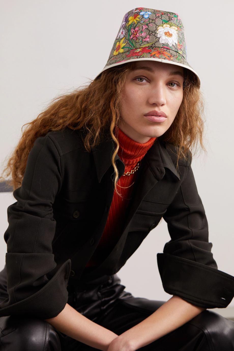 Gucci Leather-trimmed printed coated-canvas bucket hat