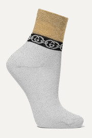 Metallic jacquard-knit socks