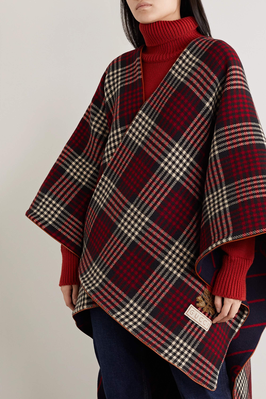 Gucci Reversible appliquéd leather-trimmed wool wrap