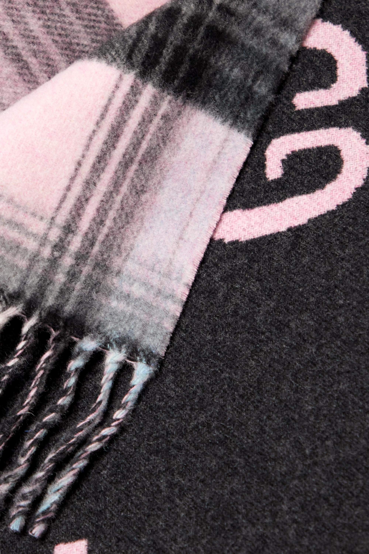 Gucci Châle réversible en laine intarsia à carreaux et à franges