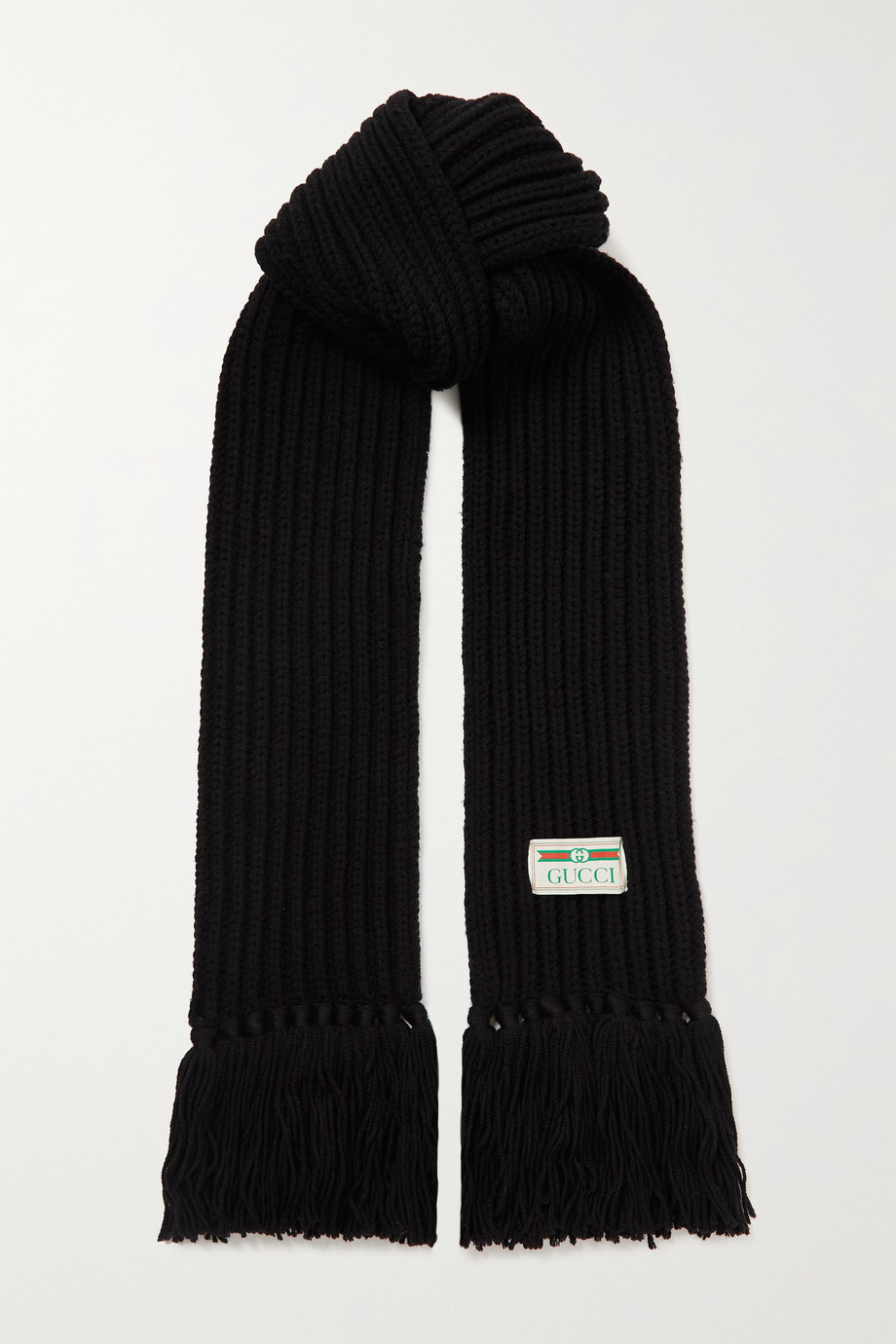 Gucci Fringed ribbed wool scarf