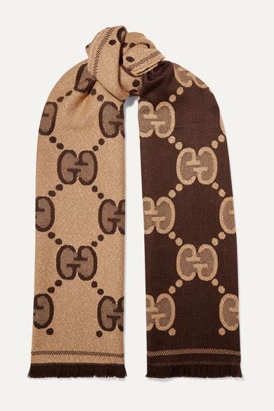 Frayed Metallic Wool Blend Jacquard Knit Scarf by Gucci