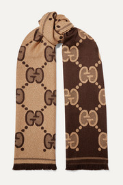 Gucci Frayed metallic wool-blend jacquard-knit scarf