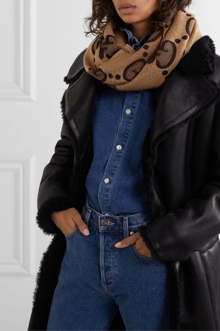 Gucci Frayed metallic wool-blend jacquard-knit scarf