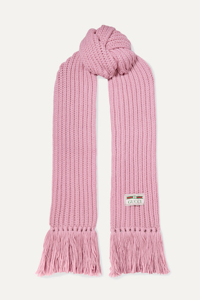 Ribbed Fringed Wool Scarf by Gucci