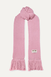 Gucci Ribbed fringed wool scarf