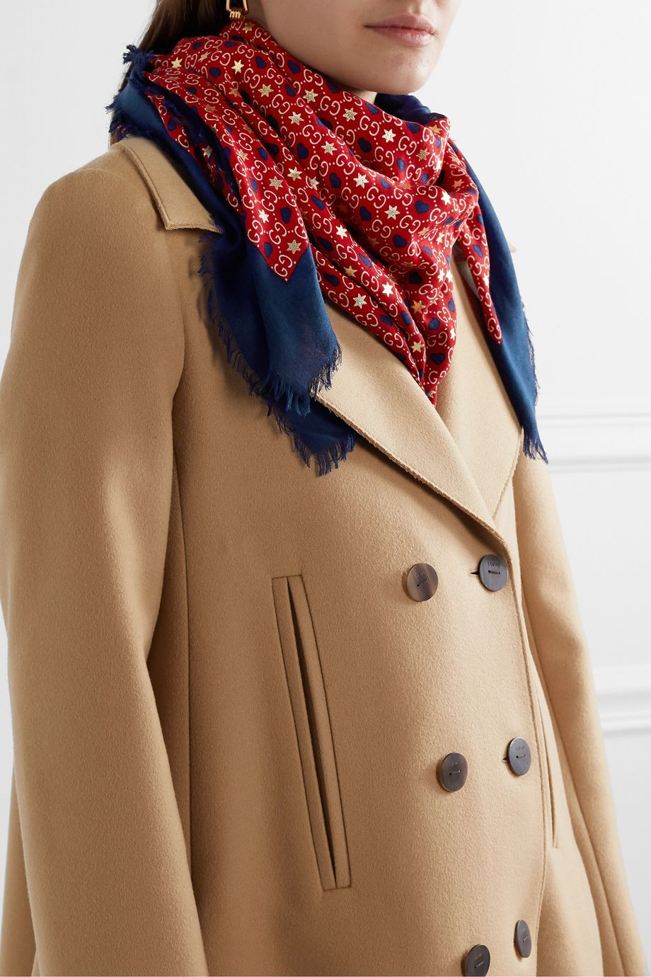 Gucci Frayed printed modal and silk-blend twill scarf