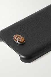 Embellished textured-leather iPhone X and XS case