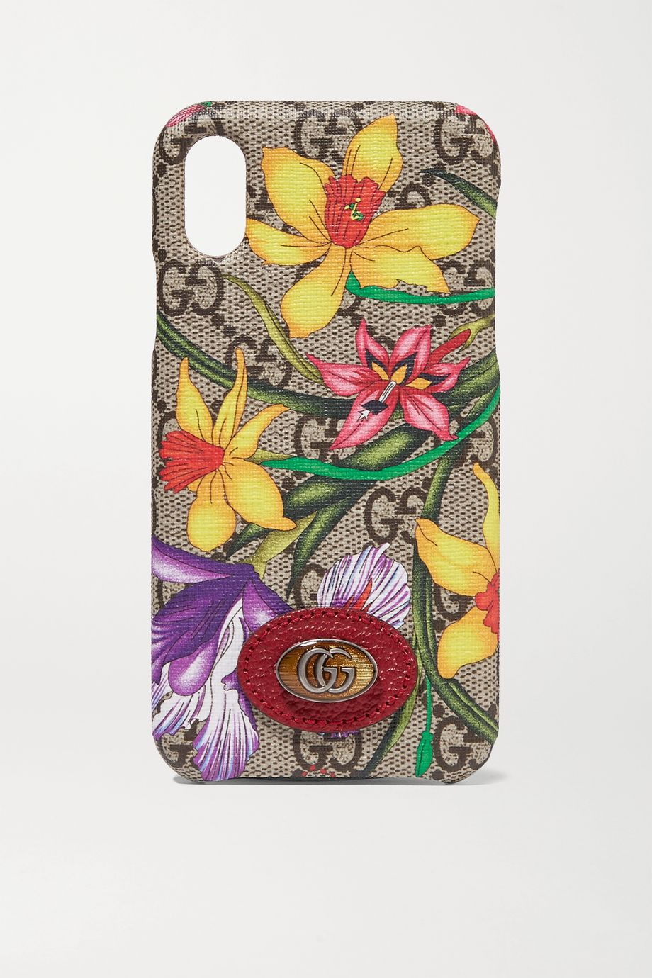 Gucci Ophidia textured leather-trimmed printed coated-canvas iPhone X and XS case