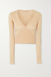 Live The Process Wrap-effect cotton and cashmere-blend top