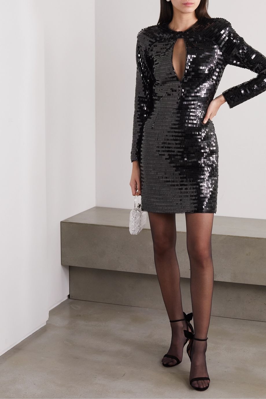 Haney Alexandra cutout sequined tulle mini dress
