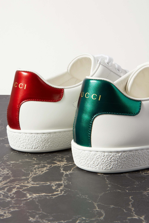 Gucci Ace appliquéd canvas-trimmed leather sneakers