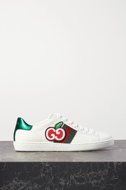 Gucci Ace appliquéd canvas-trimmed leather sneakers