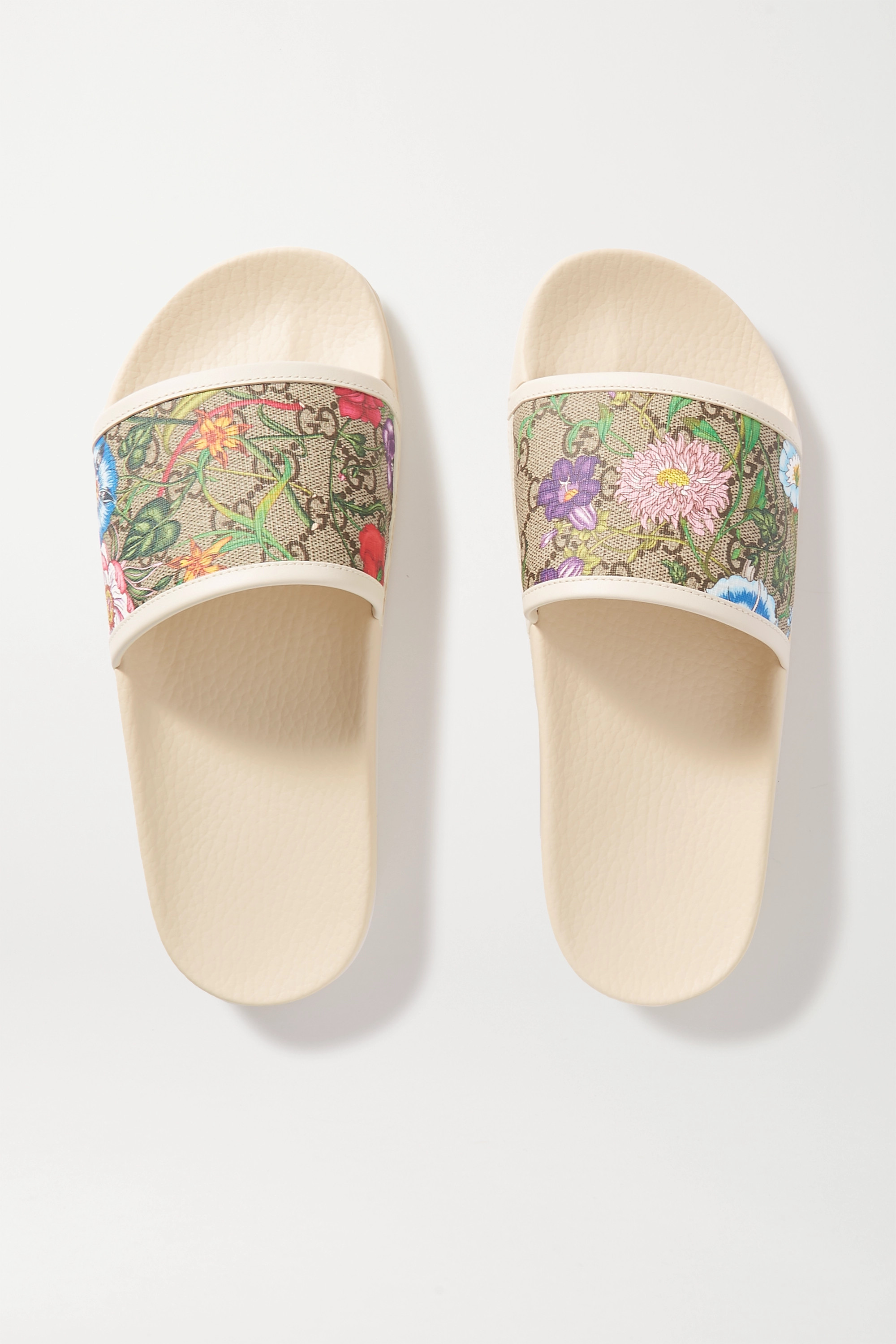 Gucci Pursuit GG leather-trimmed printed rubber slides