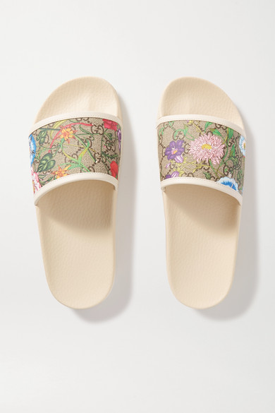 Pursuit Gg Leather Trimmed Printed Rubber Slides by Gucci