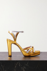 Gucci Alison two-tone metallic leather platform sandals
