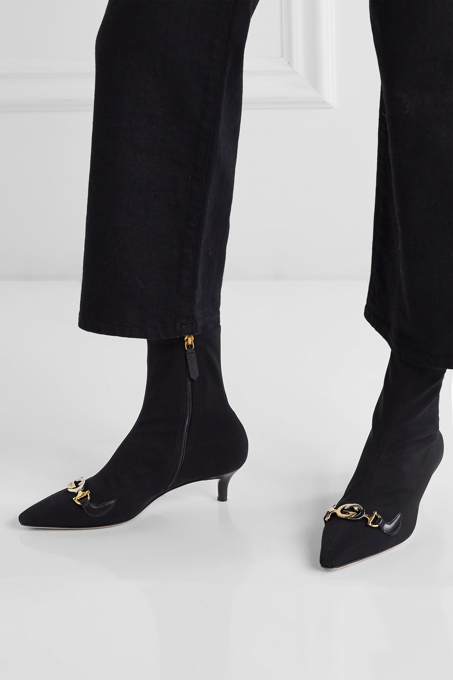 Gucci Zumi logo-embellished leather-trimmed stretch-knit sock boots