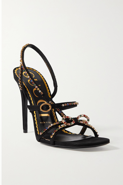 Black Carmen crystal-embellished suede