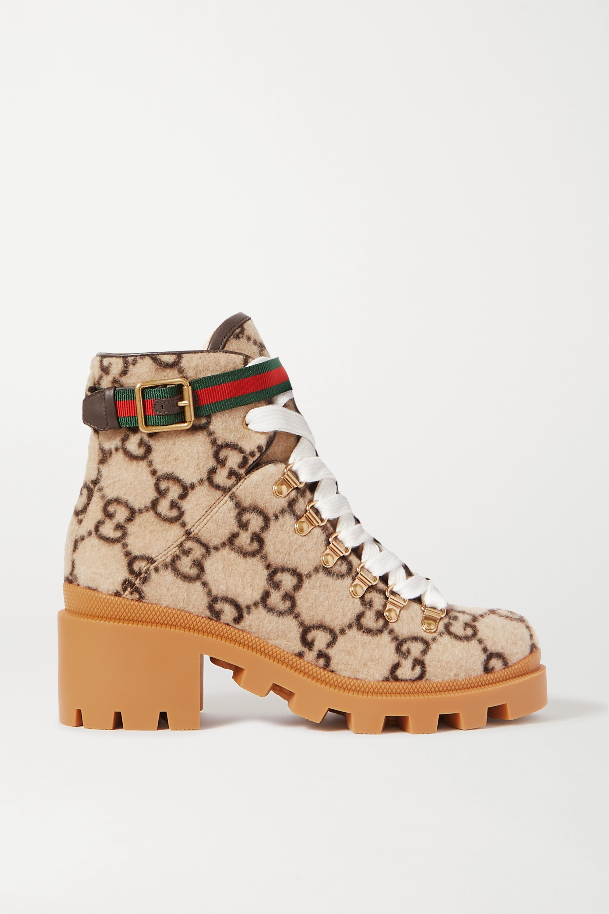 Gucci Trip leather and grosgrain-trimmed logo-print wool ankle boots