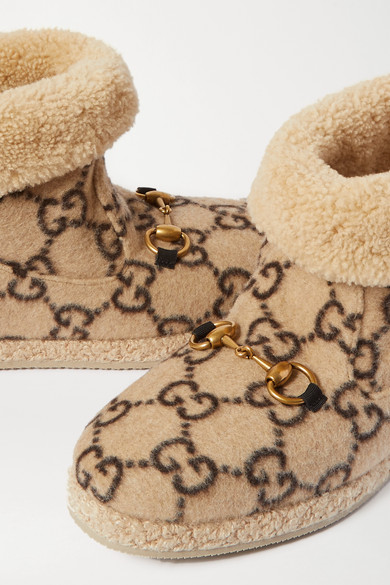Fria Horsebit Detailed Logo Print Wool And Faux Shearling Ankle Boots by Gucci